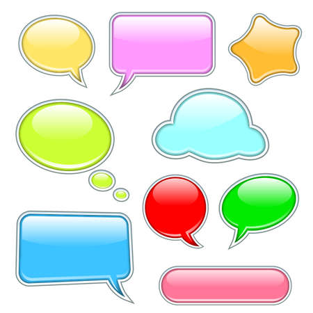 shiny speech bubbles with various shapes and colors photo