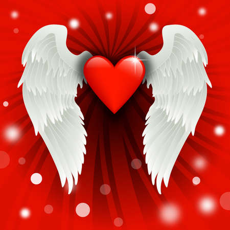 shiny heart with angel wings over a burst background photo