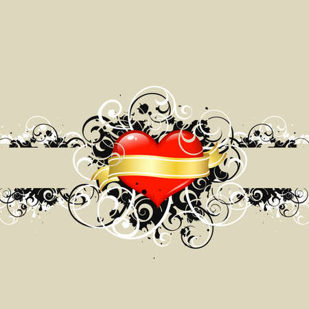 shiny red heart and foliage with golden scroll photo