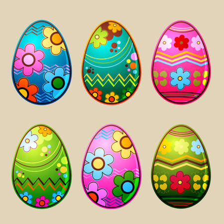 shiny easter eggs with colorful patterns; illustration illustration