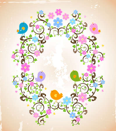 spring scene, vintage style illustration Stock Illustration - 6516326