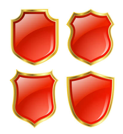 red shield with gloden border photo