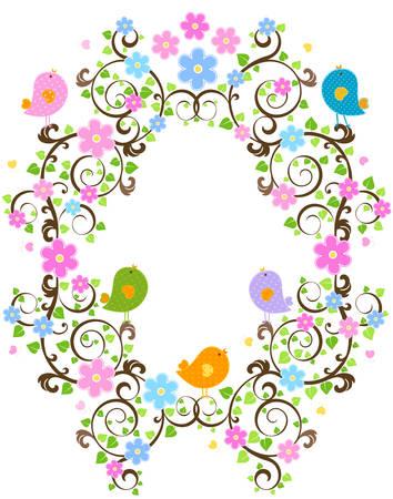 joy of life: spring frame  Illustration