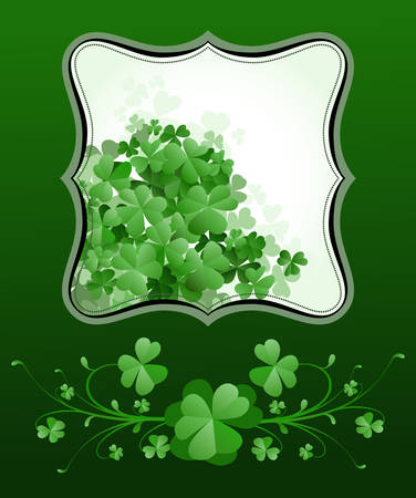 St. Patricks Day frame with clovers Vector