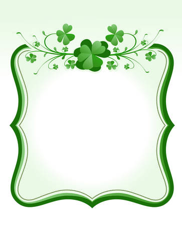 clover leaf shape: vintage style St. Patrick`s Day frame  Illustration