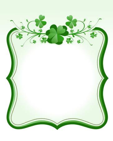 shamrock clover: vintage style St. Patrick`s Day frame  Illustration