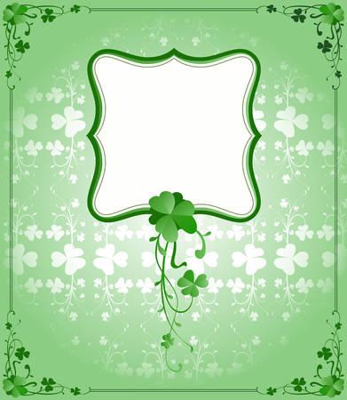 clover backdrop: vintage style St. Patrick`s Day frame  Illustration