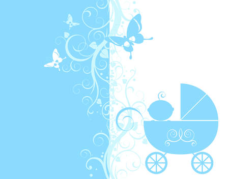 baby arrival design, baby boy in his little carriage Vector