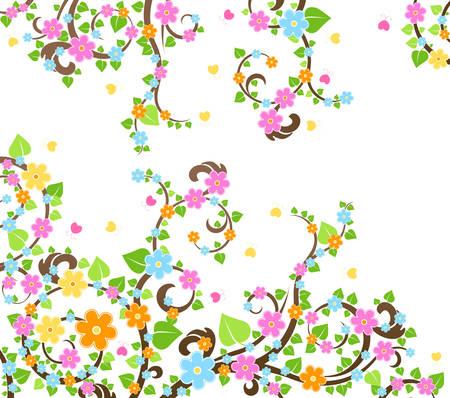 springtime: blossom cherry tree Illustration