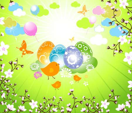 easter design, birds family in a blossom cherry garden Stock Photo - 6663849