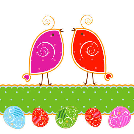 cute little birds and easter eggs photo