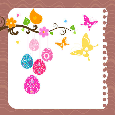 easter card with eggs, bird and butterflies Stock Photo - 6675866