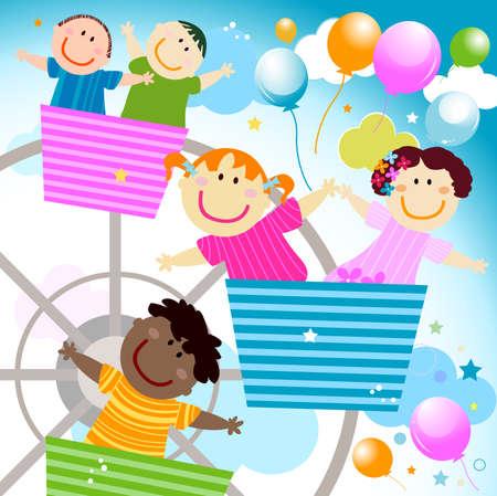 kids in the amusement park Stock Photo