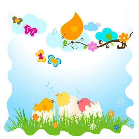 easter card with birds and eggs in grass photo