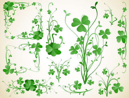 clover leaf shape: three leaves clover design elements