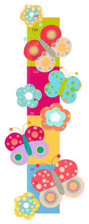 height chart with flowers and butterflies