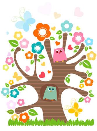 cute little owls in love Stock Photo - 8431649