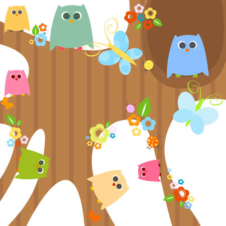 cute little owls Stock Photo - 8431647
