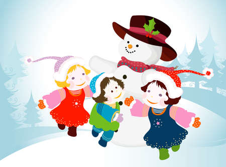 merrytime: winter design with snowman and kids