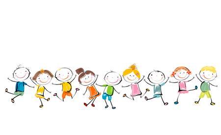 felices los niños jugando Ilustración de vector