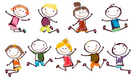 children painting: jumping kids