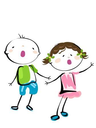 canta: cute little ragazza e ragazzo cantando