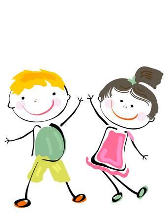 ni�o dibujo animado: los mejores amigos; felices los ni�os jugando