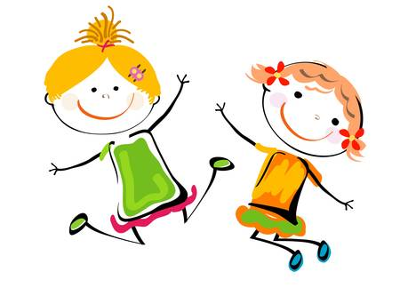 best friends; happy girls playing Stock Vector - 8476916