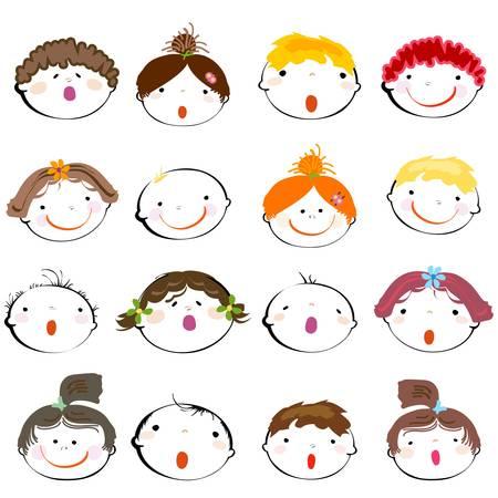 chicos pintando: rostros de ni�os felices Vectores