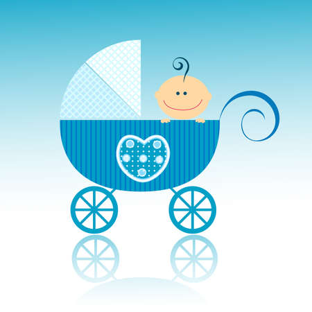 baby arrival design, baby boy in his little carriage photo