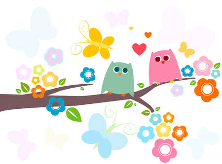 cute owls in love with flowery tree photo
