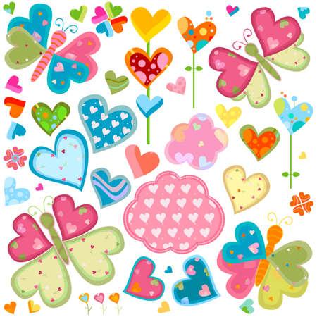 love butterflies and flowers set