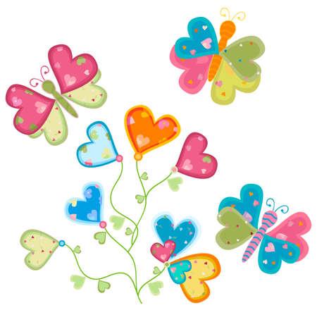 sweet love: flor de amor dulce y mariposas Foto de archivo
