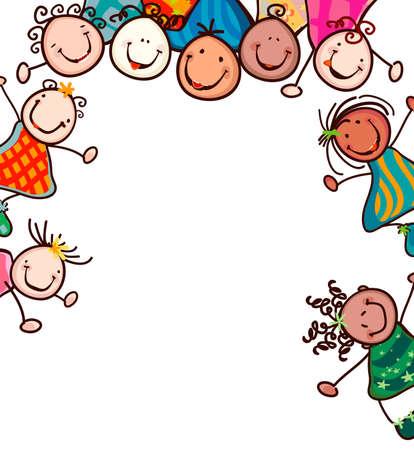 ni�os con pancarta: felices los ni�os con caras sonrientes
