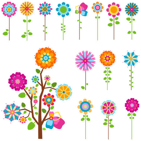 colorful retro flowers and tree set