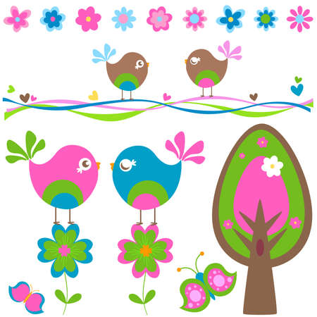 chicks: spring elements set Stock Photo