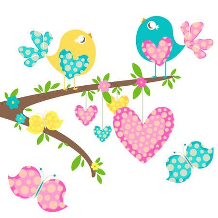 birdie: gli uccelli primaverili con cuori l'amore