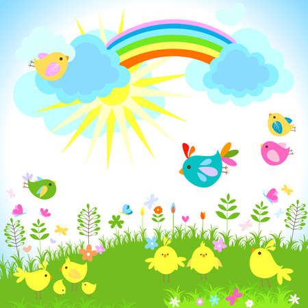 easter chick: bright spring with rainbow
