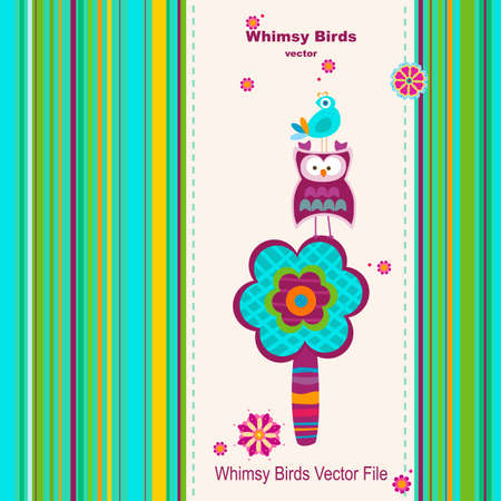 whimsy: greeting card background whimsy birds