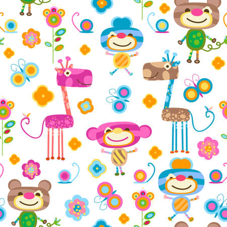 cute animals and flowers background Stock Photo