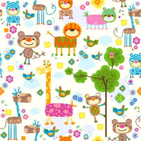 animales divertidos y flores de fondo Foto de archivo
