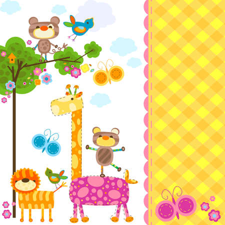 cute animals background for cards photo