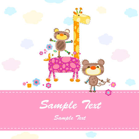 baby invitation card with cute animals photo