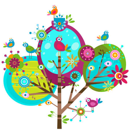 whimsy flower tree and birds Stock Photo - 12428620