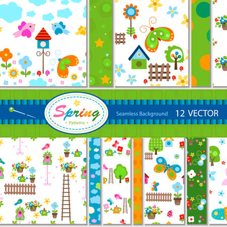 12 vector colorful spring patterns  seamless Stock Photo - 12428644
