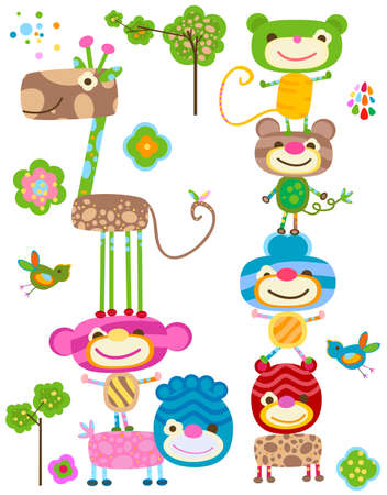 baby scrapbook: jungle cute animals set