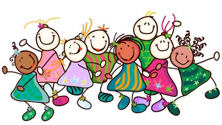 vivero: grupo de niños sonrientes con caras graciosas Vectores