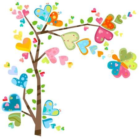 love and flower tree in spring Vector