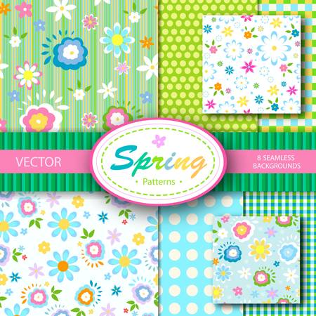 8 vector spring patterns; seamless backgrounds set Vector
