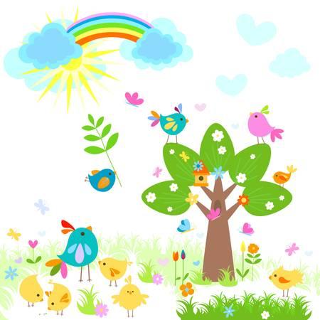 pollitos: brillante de la primavera